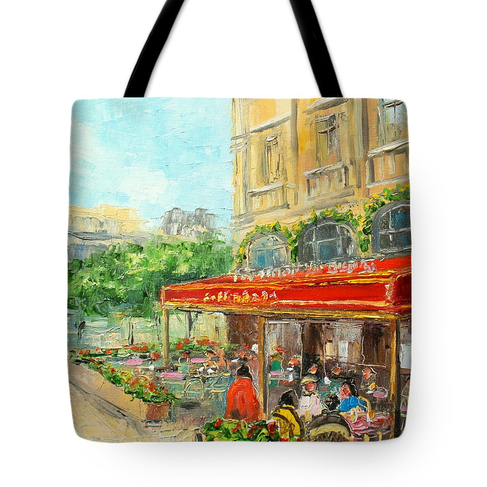 Paris Tote Bag featuring the painting Paris Cafe by Luke Karcz