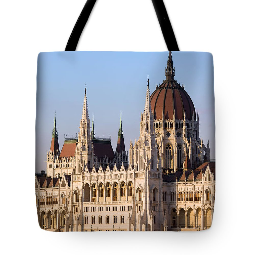 Architectural Tote Bag featuring the photograph Parliament Building In Budapest by Artur Bogacki