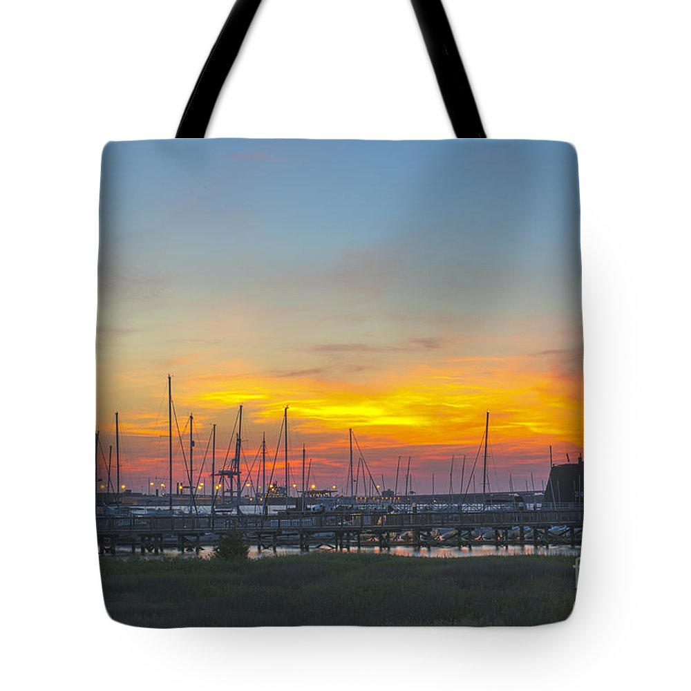 Sunset Tote Bag featuring the photograph Patriots Point Sunset by Dale Powell
