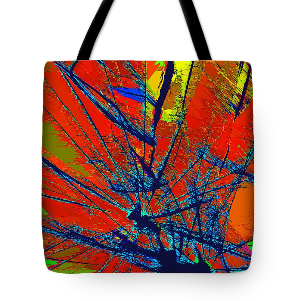Abstract Tote Bag featuring the painting Peacock by David Lee Thompson