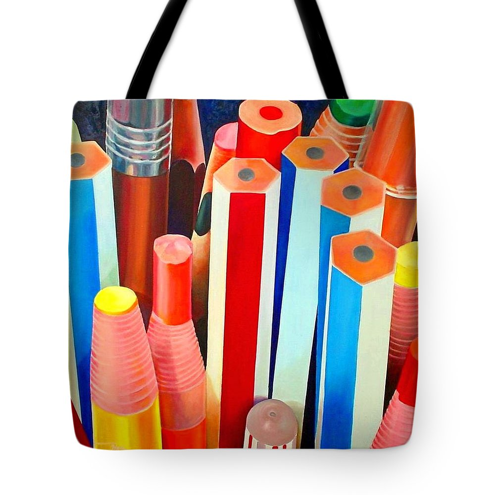 Pencils Tote Bag featuring the painting Pencils by Bong Perez