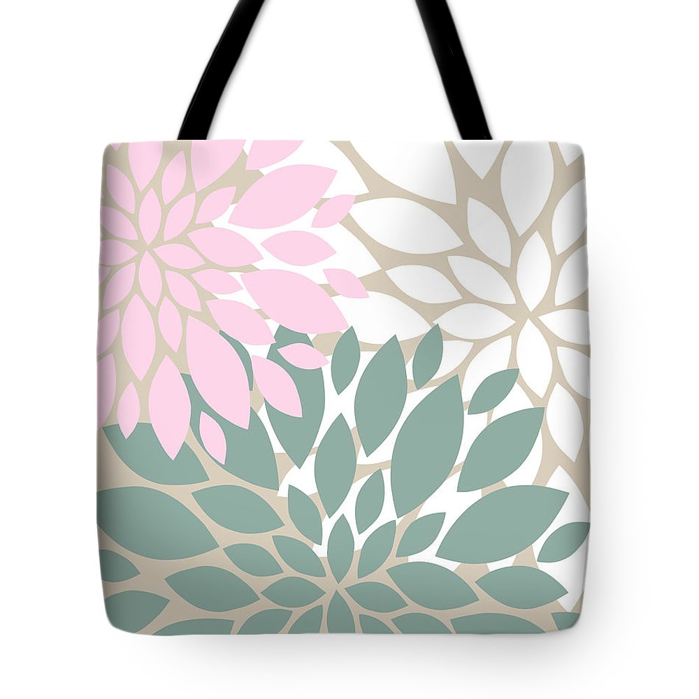 Pink Tote Bag featuring the digital art Peony Flowers by Voros Edit