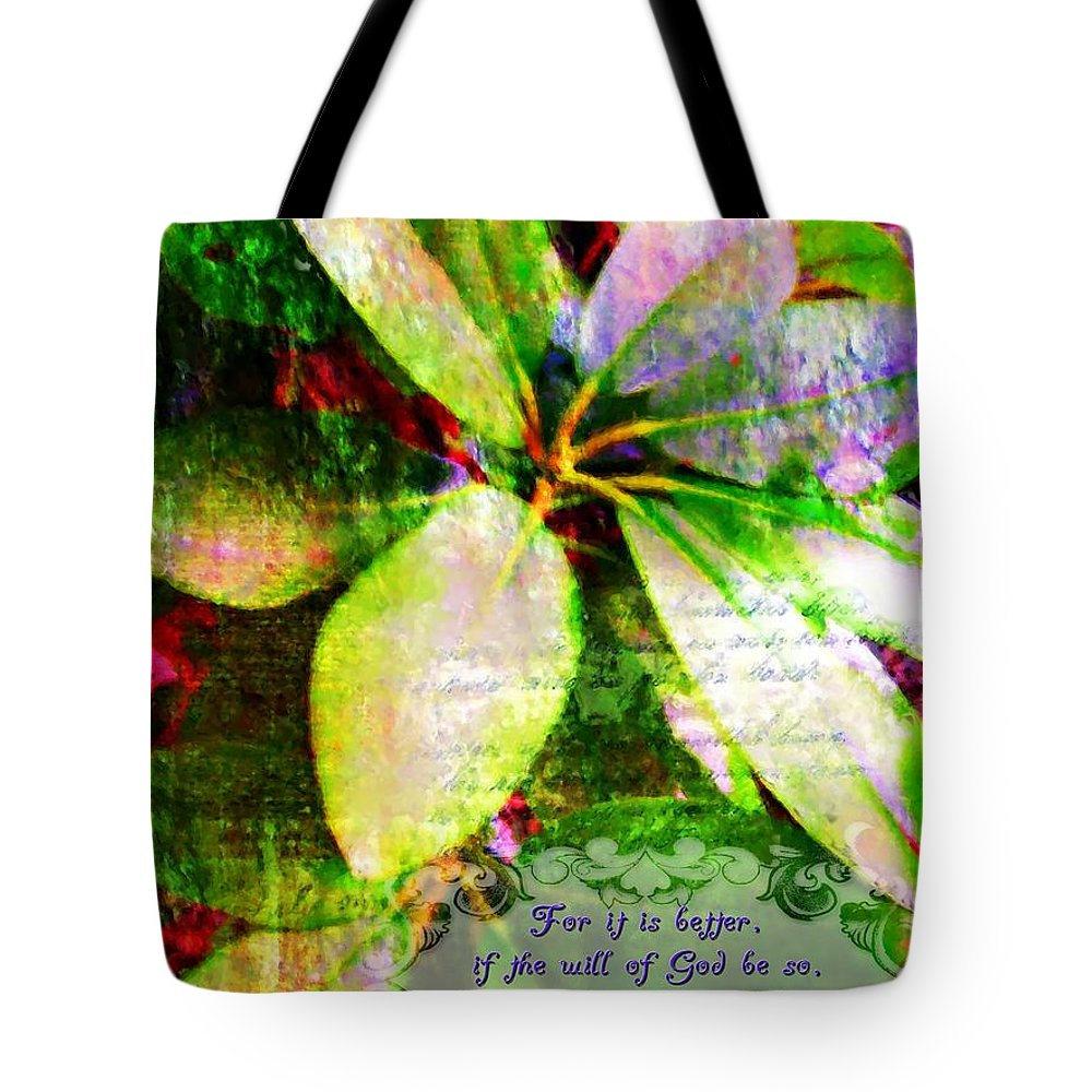 Jesus Tote Bag featuring the digital art 1 Peter 3 17 by Michelle Greene Wheeler