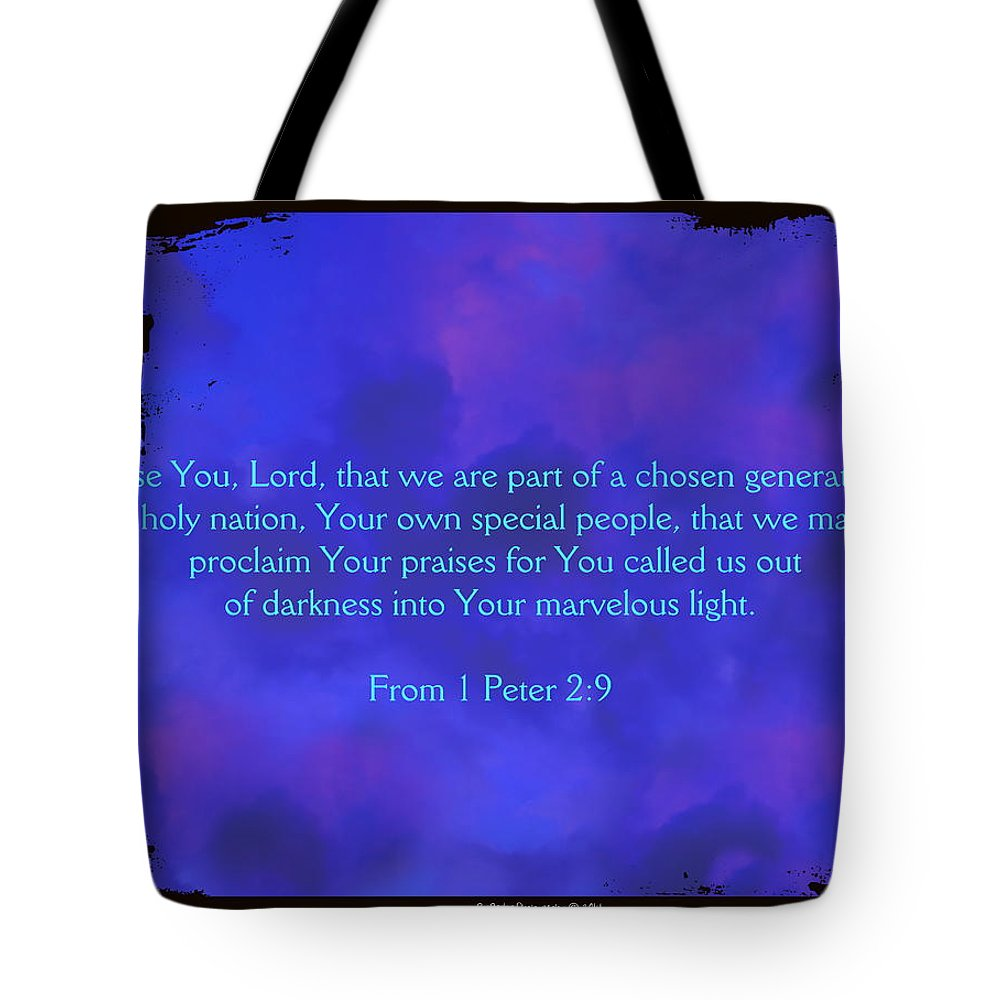 Abstract Tote Bag featuring the digital art 1 Peter by Roe Rader
