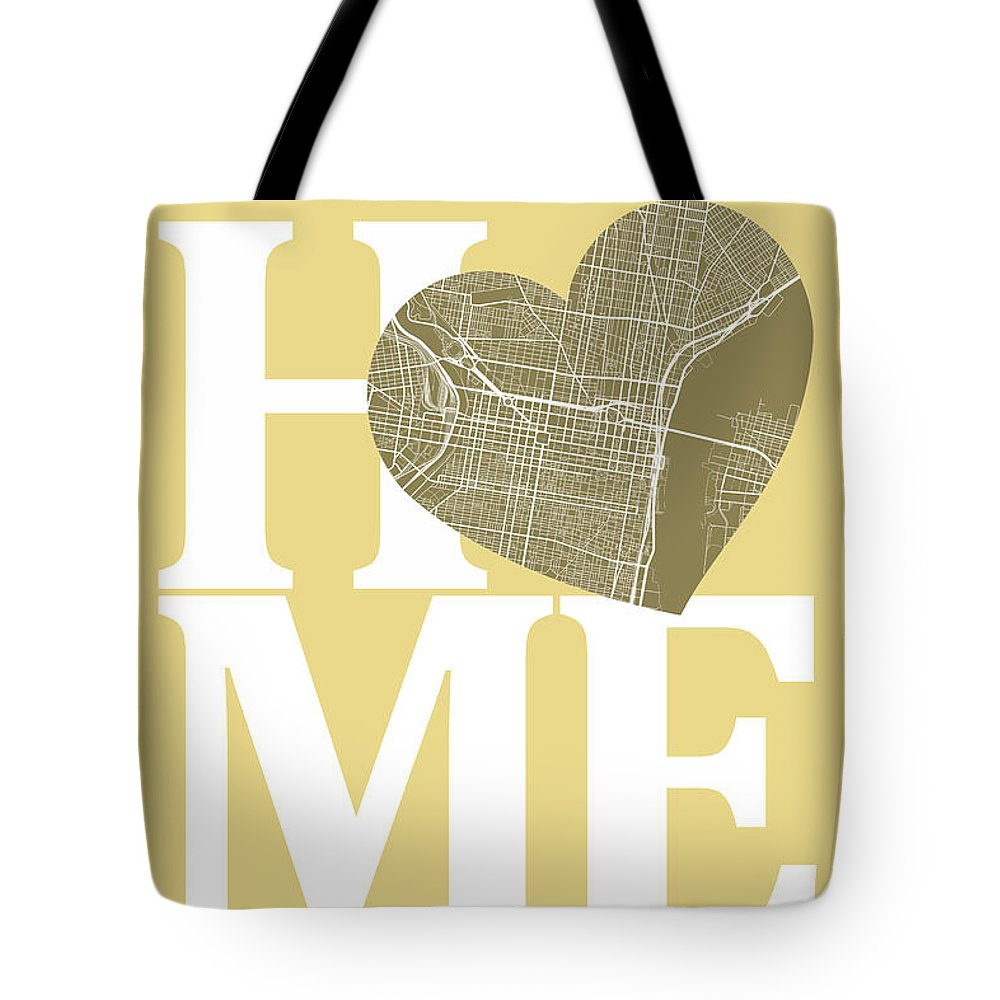 Road Map Tote Bag featuring the digital art Philadelphia Street Map Home Heart - Philadelphia Pennsylvania R by Jurq Studio