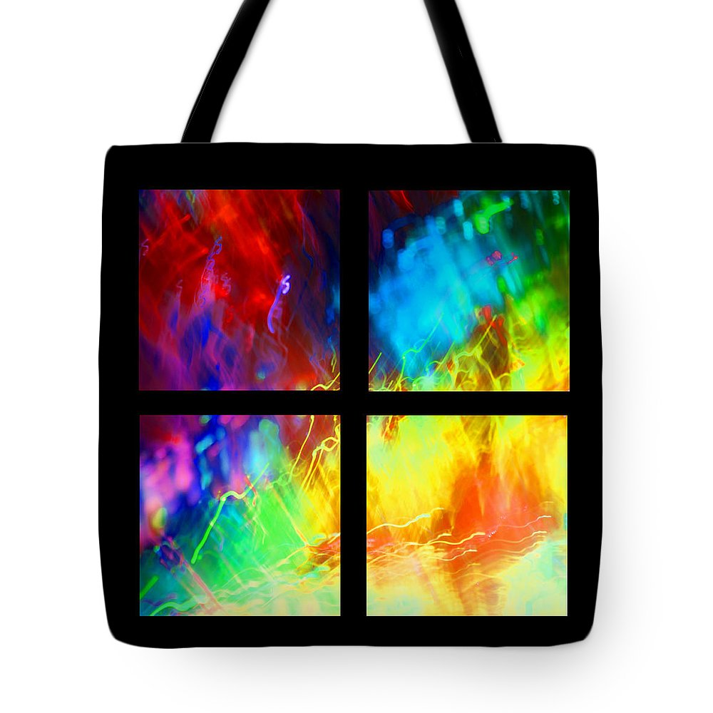 Tetraptych Tote Bag featuring the photograph Physical Graffiti 1 Series Layout by Dazzle Zazz
