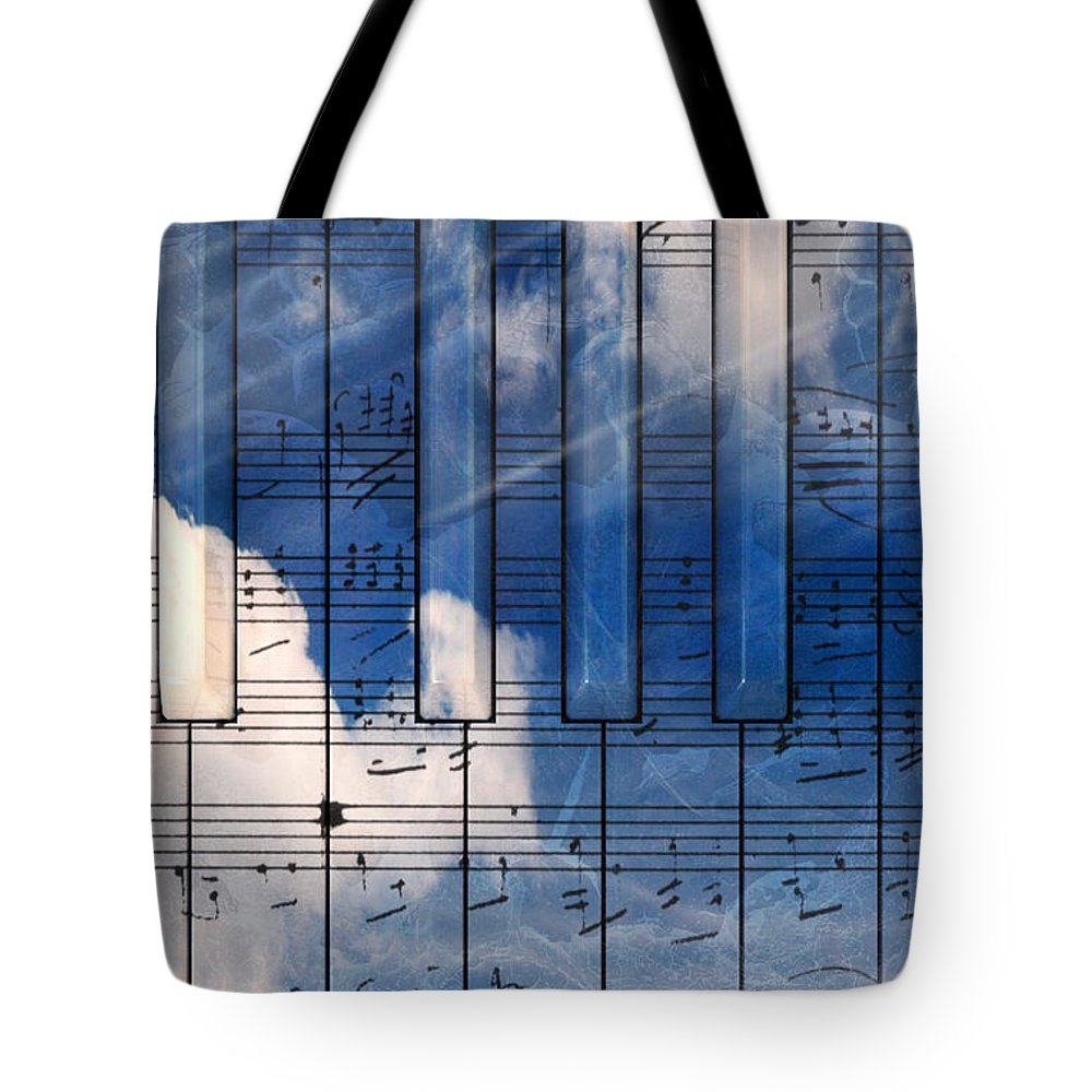 Music Tote Bag featuring the digital art Piano by Bruno Haver