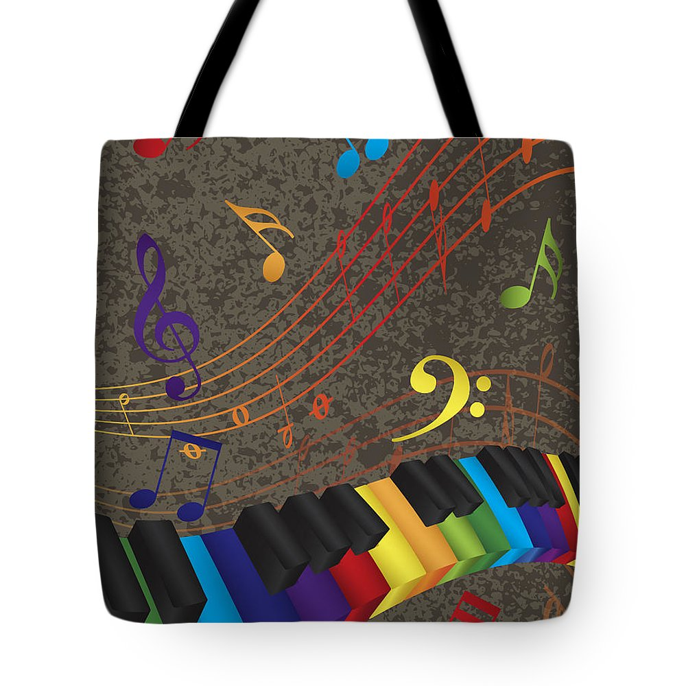 Piano Tote Bag featuring the photograph Piano Wavy Border With 3d Colorful Keys And Music Note by Jit Lim