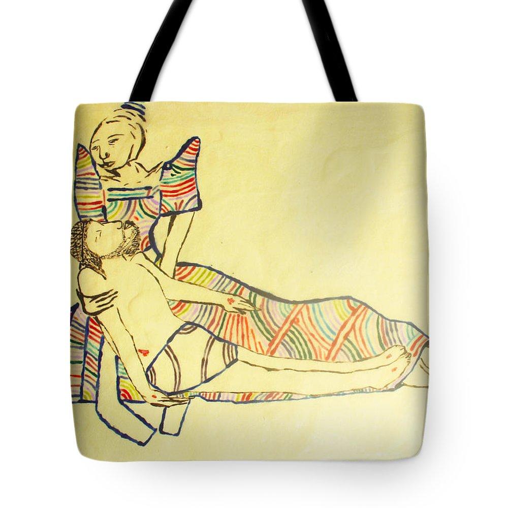 Jesus Tote Bag featuring the painting Pieta by Gloria Ssali