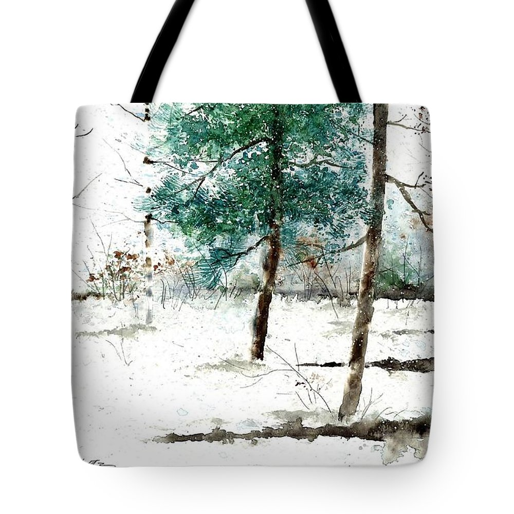 Pine Woods Tote Bag featuring the painting Pine Woods by Steven Schultz
