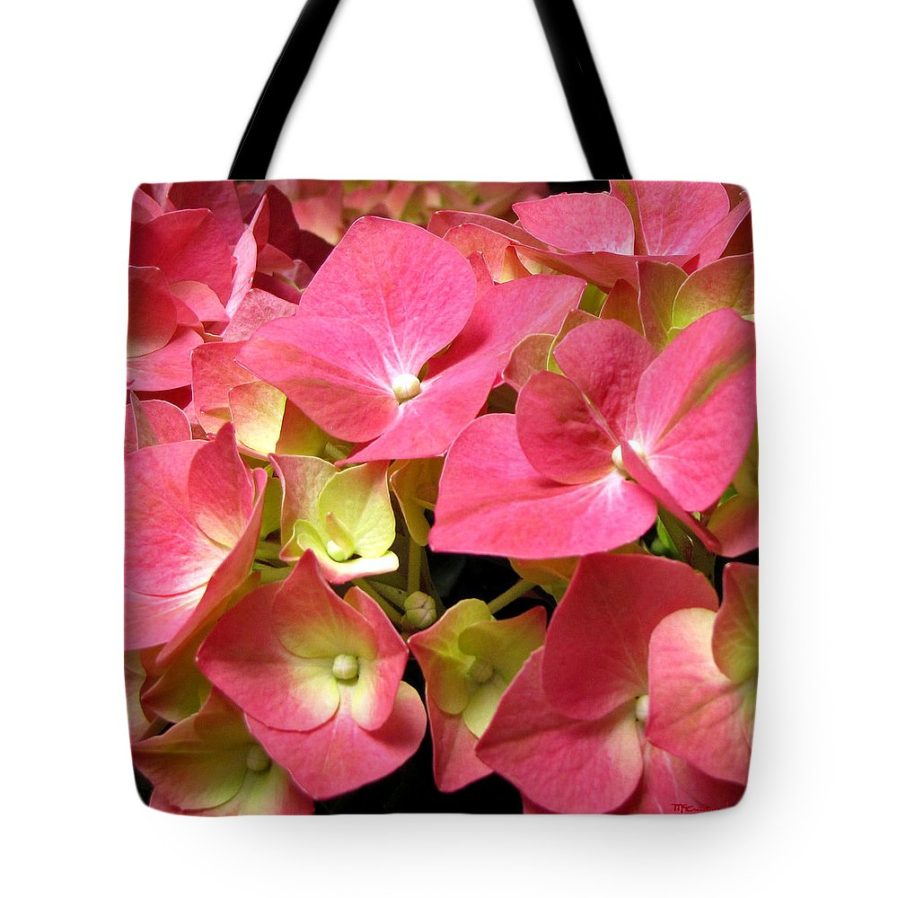 Duane Mccullough Tote Bag featuring the photograph Pink Hydrangea Flowers by Duane McCullough