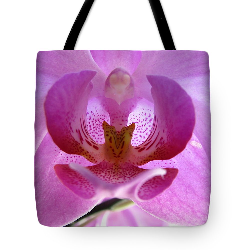 Flower Photographs Tote Bag featuring the photograph Pink Orchid by Eva Csilla Horvath