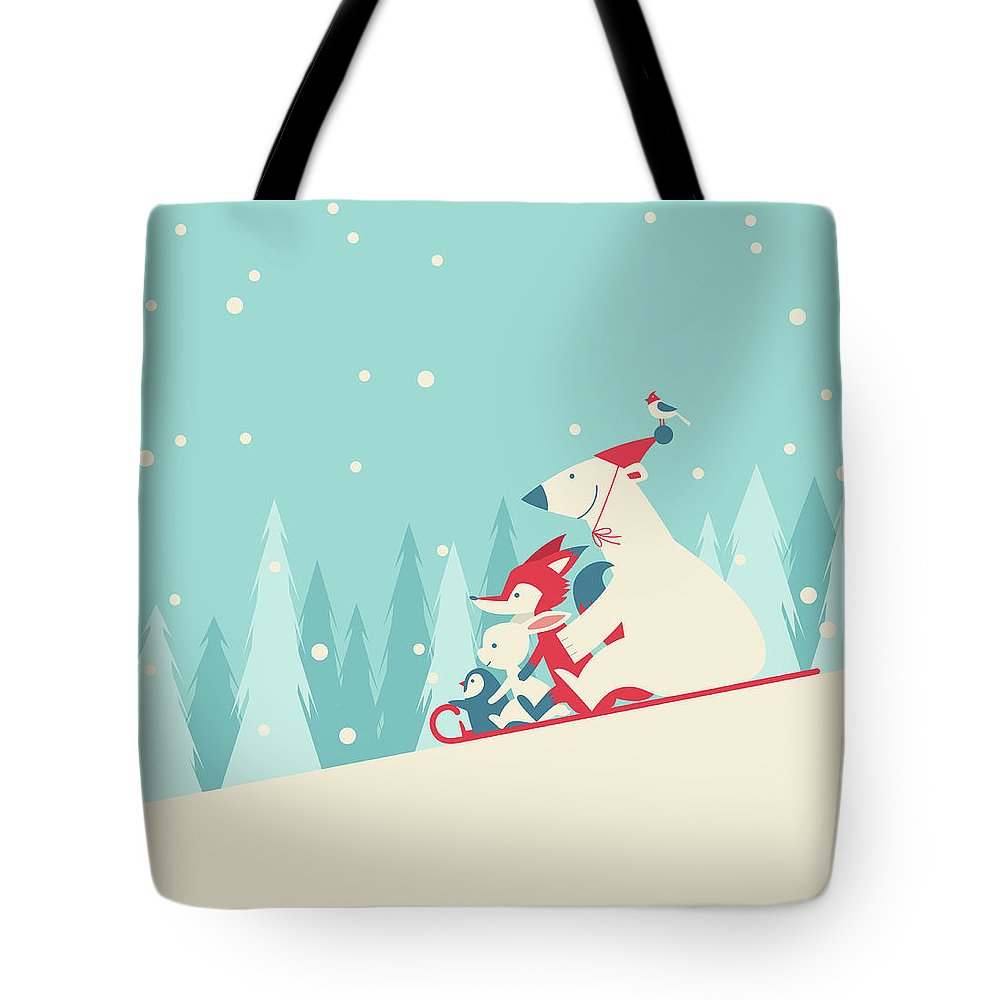 Snow Tote Bag featuring the digital art Playing Snow Sled by Akindo