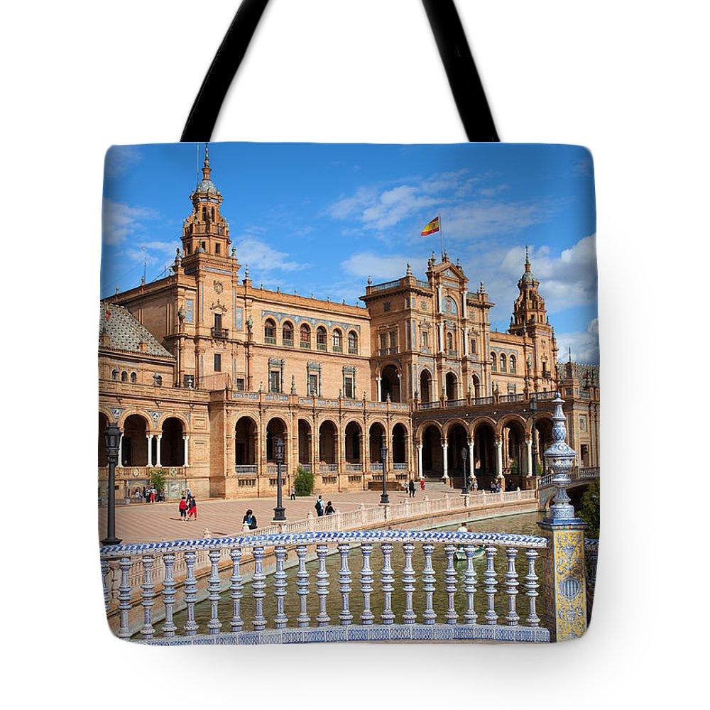 Plaza Tote Bag featuring the photograph Plaza De Espana In Seville by Artur Bogacki