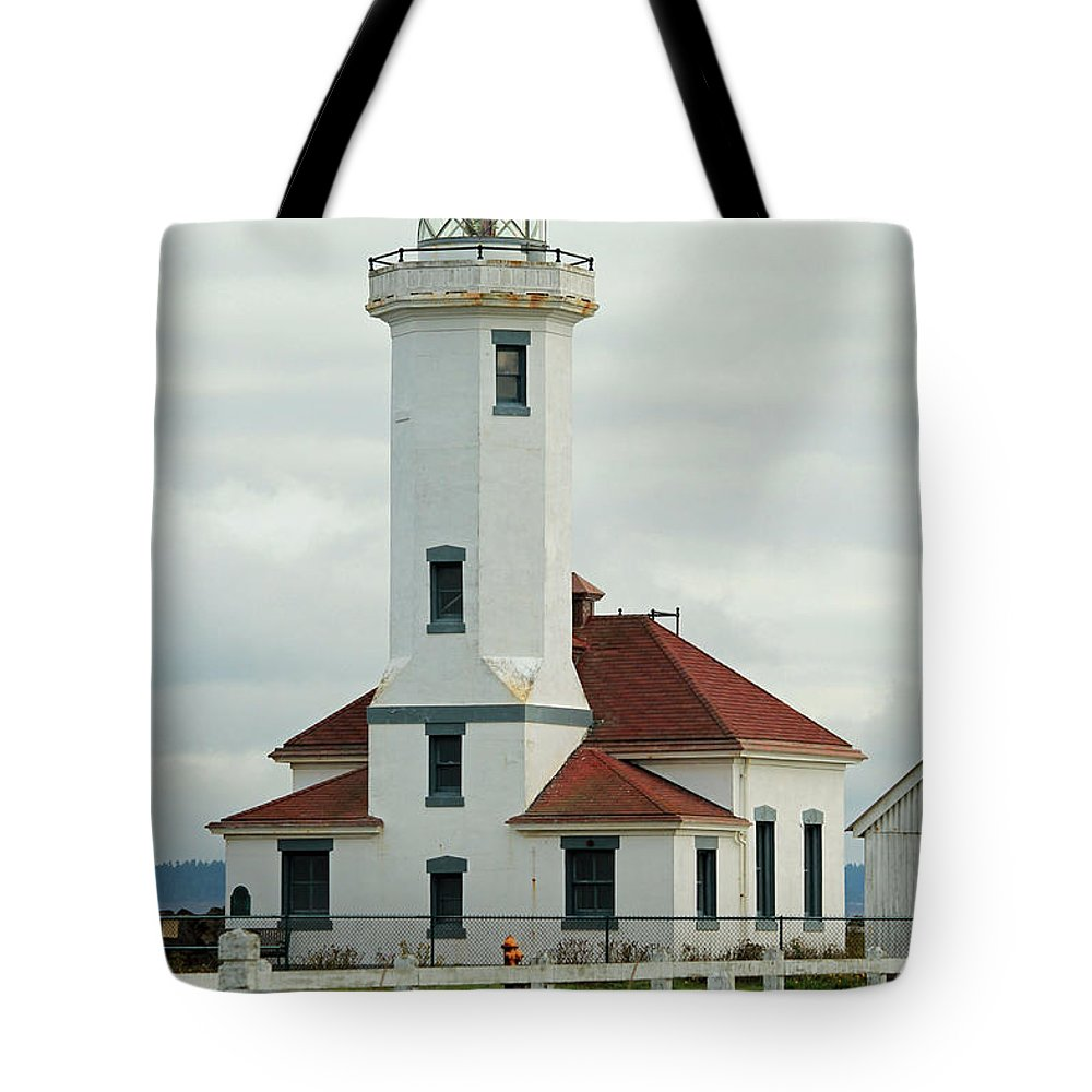Point Wilson Lighthouse Tote Bag featuring the photograph Point Wilson Lighthouse by E Faithe Lester
