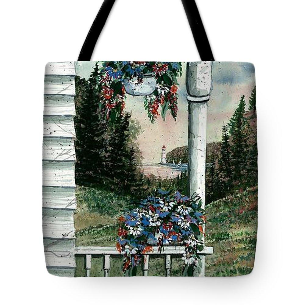Porch Pots Tote Bag featuring the painting Porch Pots by Steven Schultz