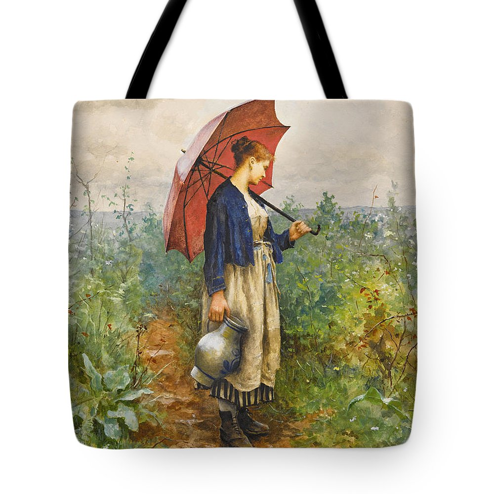 Daniel Ridgway Knight Tote Bag featuring the painting Portrait Of A Woman With Umbrella Gathering Water by Daniel Ridgway Knight