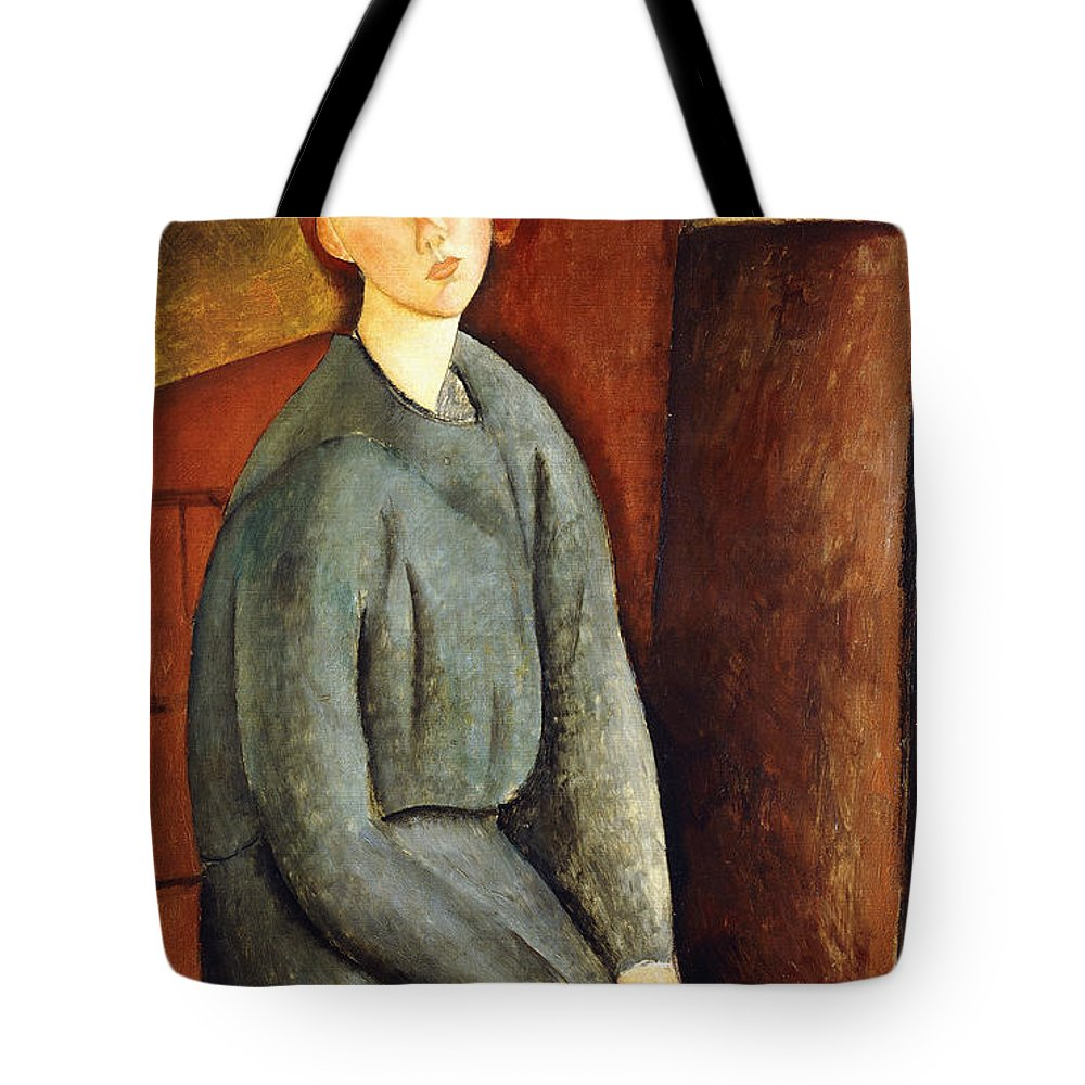 Amedeo Modigliani Tote Bag featuring the painting Portrait Of Annie Bjarne by Celestial Images