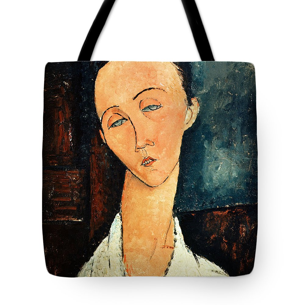 Amedeo Modigliani Tote Bag featuring the painting Portrait Of Lunia Czechowska by Celestial Images