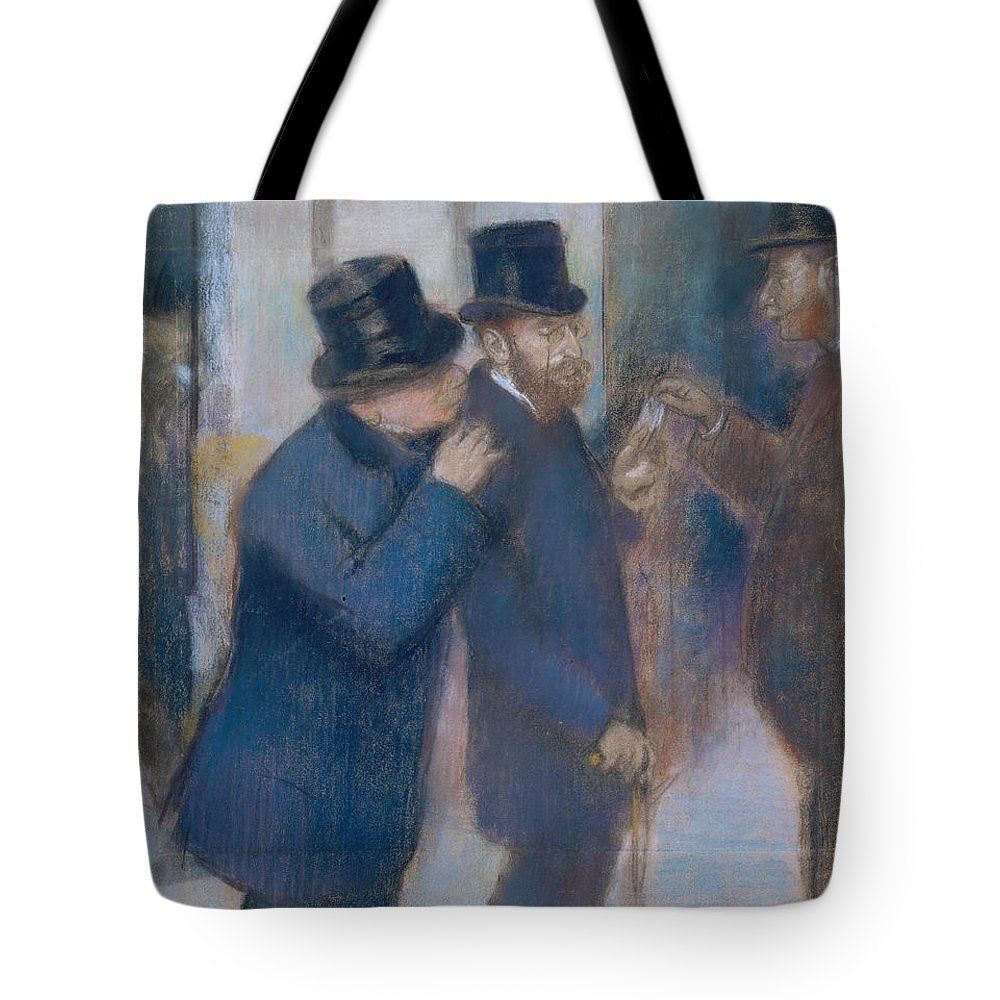 Portraits At The Stock Exchange Tote Bag featuring the painting Portraits At The Stock Exchange by Edgar Degas