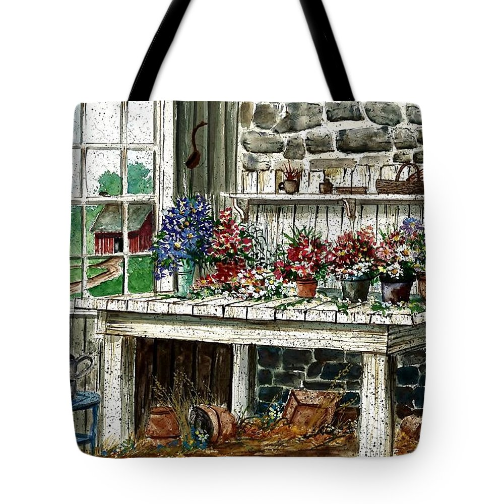 Potting Bench Tote Bag featuring the painting Potting Bench by Steven Schultz