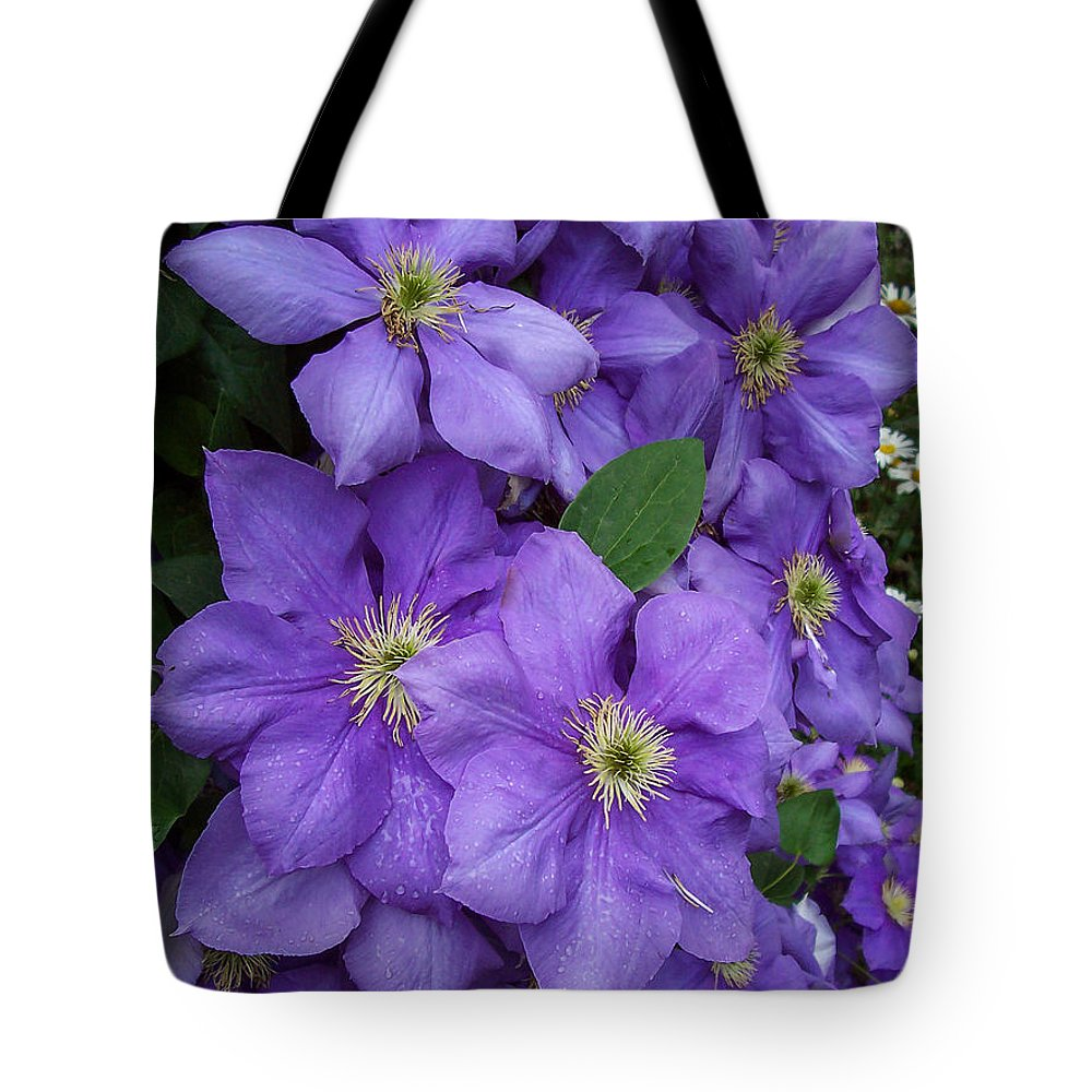 Garden Tote Bag featuring the photograph Purple Clematis by Amy Porter