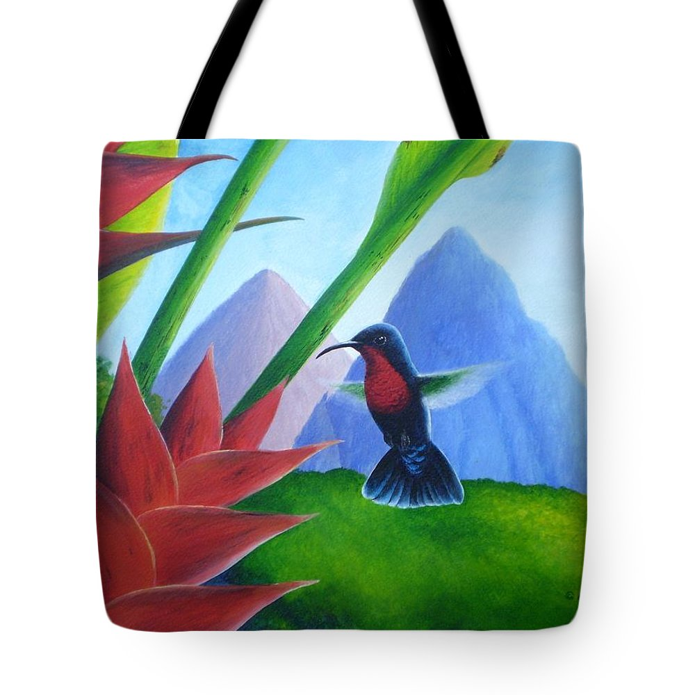 Chris Cox Tote Bag featuring the painting Purple-throated Carib and heliconia by Christopher Cox
