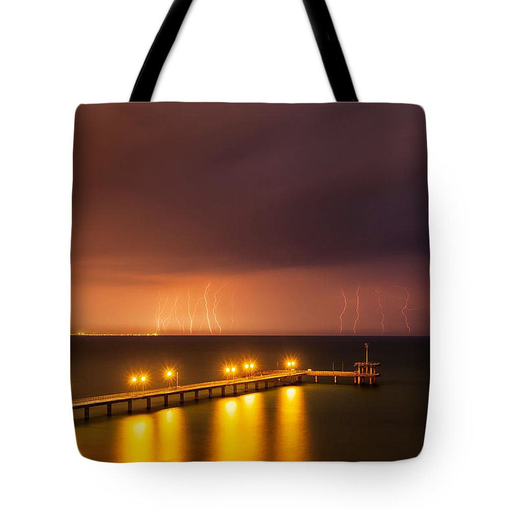 Black Sea Tote Bag featuring the photograph Rain Of Lightnings by Evgeni Dinev