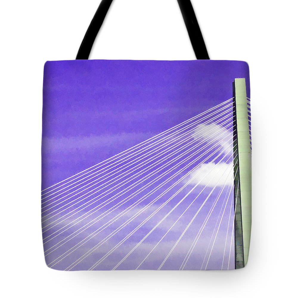 Charleston Tote Bag featuring the photograph Ravenel Bridge # 2 by Allen Beatty