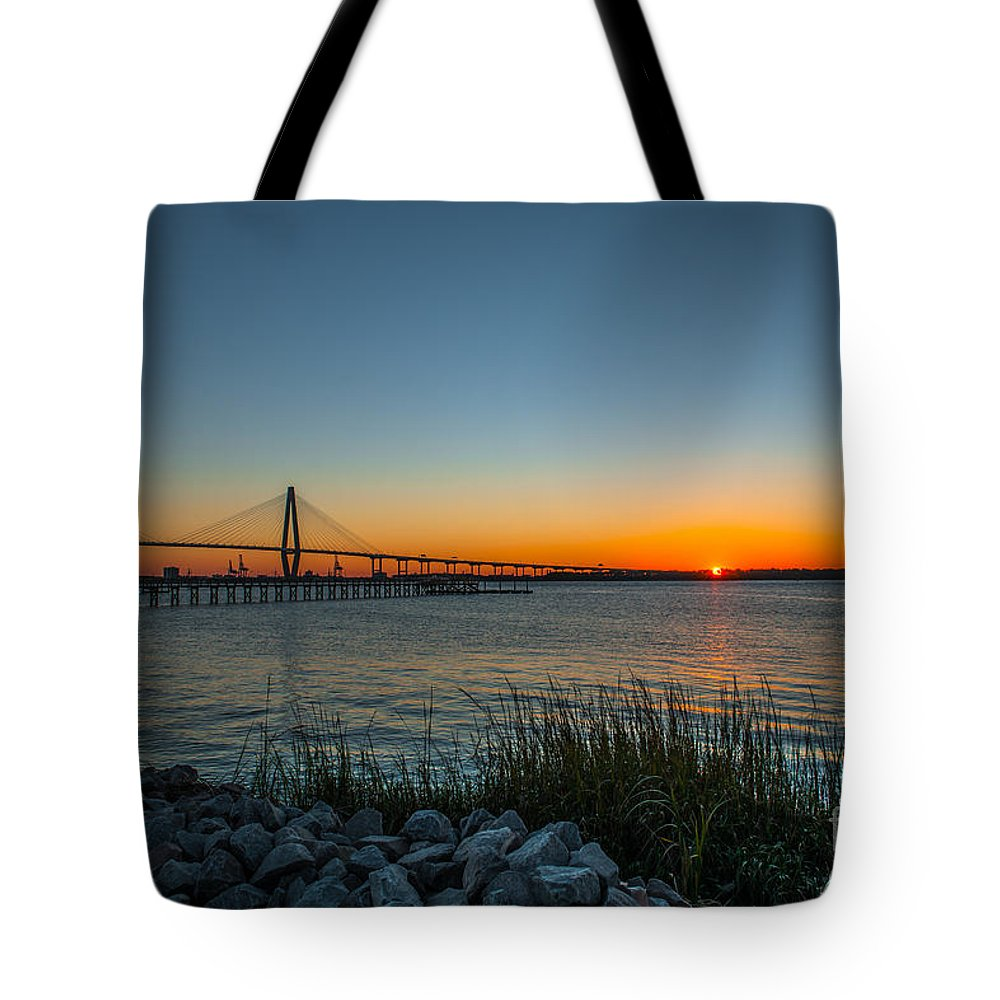 Sunset Tote Bag featuring the photograph Charleston Sundown by Dale Powell