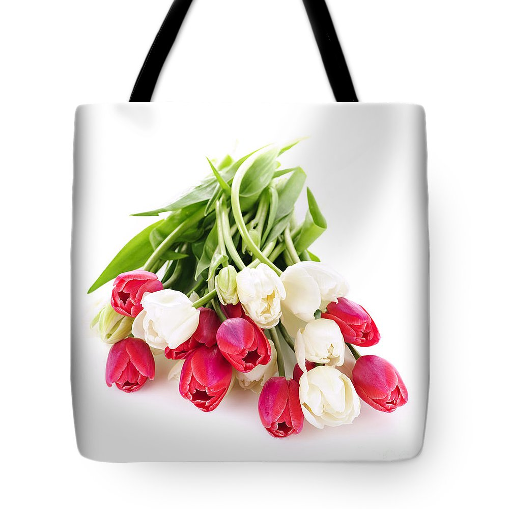 Tulips Tote Bag featuring the photograph Red And White Tulips by Elena Elisseeva