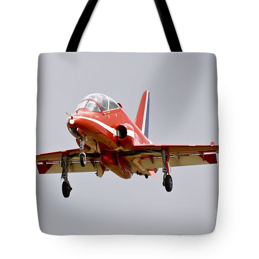 Red Arrows Tote Bag featuring the photograph Red Arrow by J Biggadike