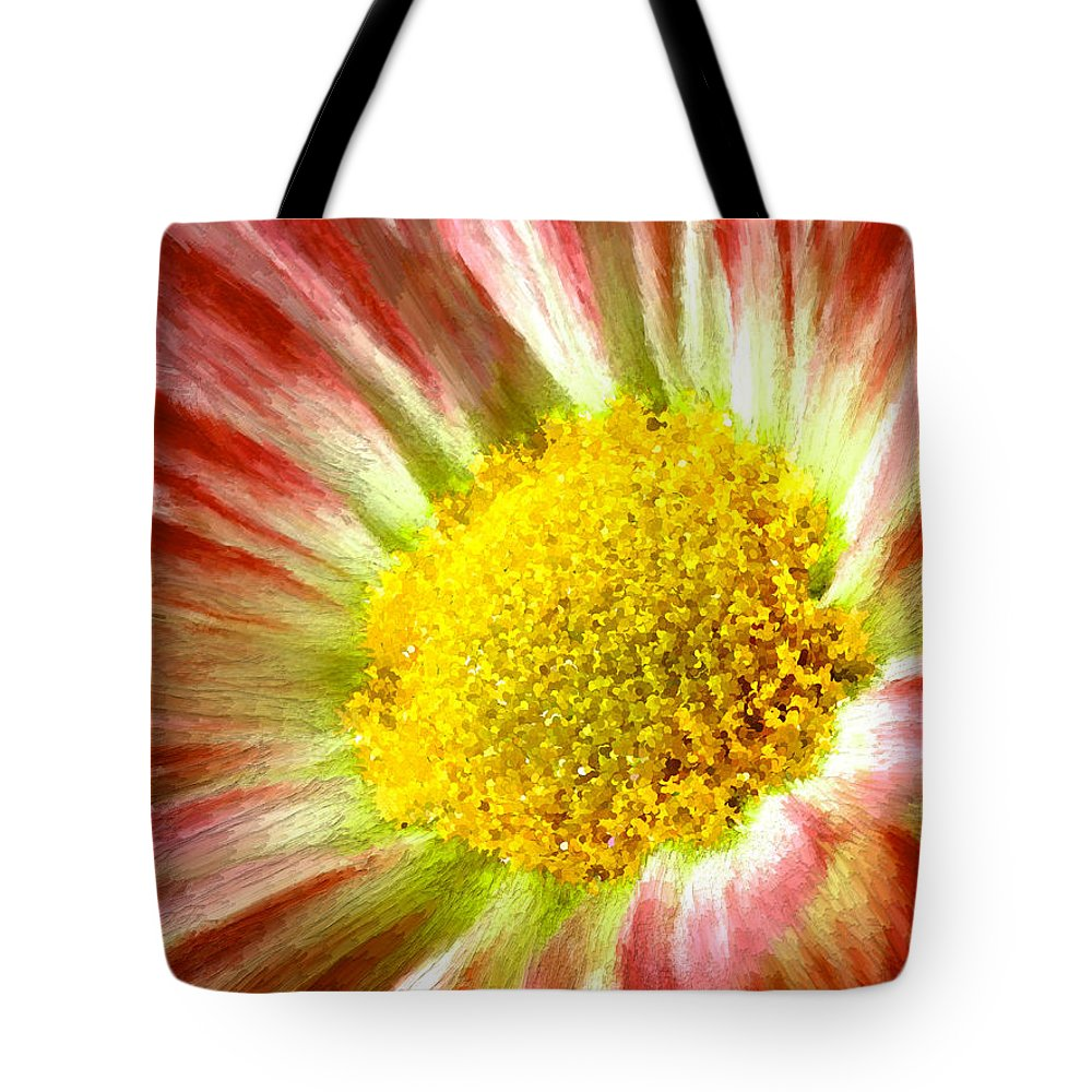 Red Tote Bag featuring the painting Red Flower Macro by Bruce Nutting