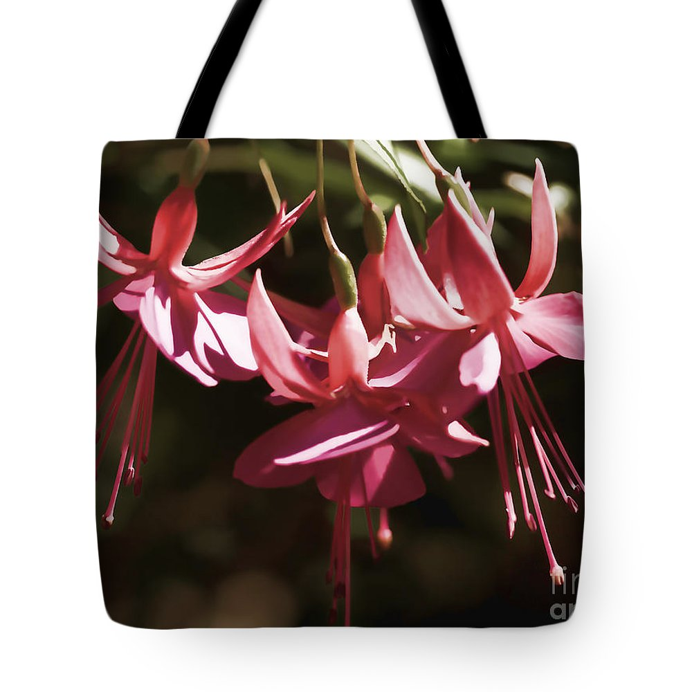 Red Fuchsia Tote Bag featuring the photograph Red Fuchsia by Louise Heusinkveld