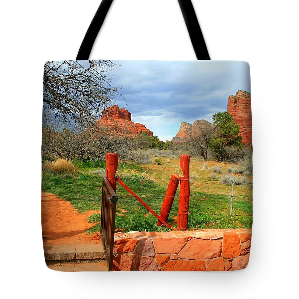 Arizona Tote Bag featuring the photograph Enter Red Rock Country by Miles Stites