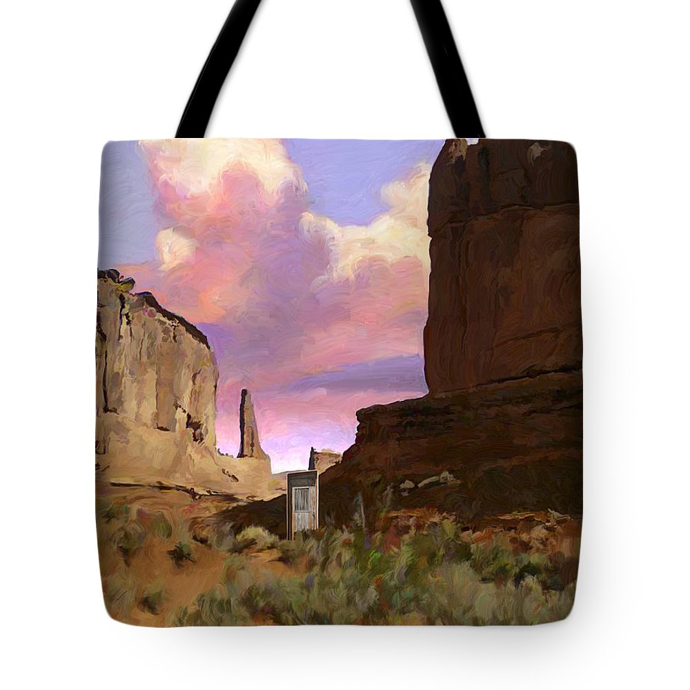 Arizona Tote Bag featuring the painting Red Rocks by Snake Jagger