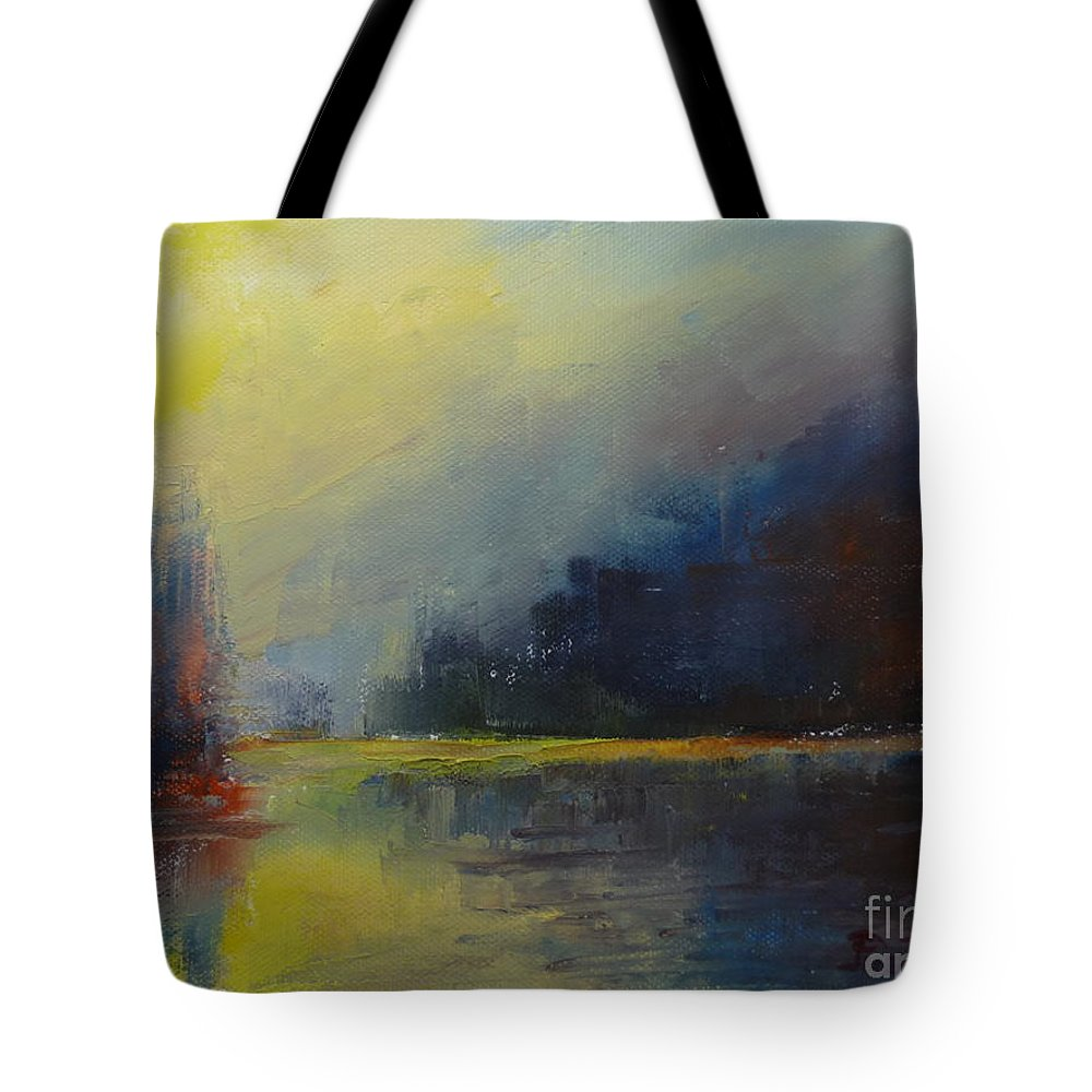 Landscape Tote Bag featuring the painting Reflections 03 by Pusita Gibbs