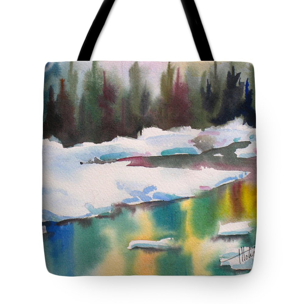 Brook Tote Bag featuring the painting Reflections by Mohamed Hirji