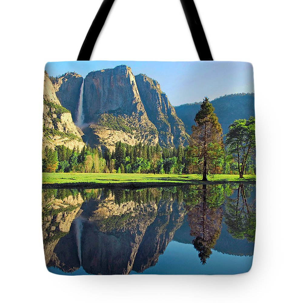 Yosemite National Park Tote Bag featuring the photograph Reflections Of Yosemite Falls by Lynn Bauer
