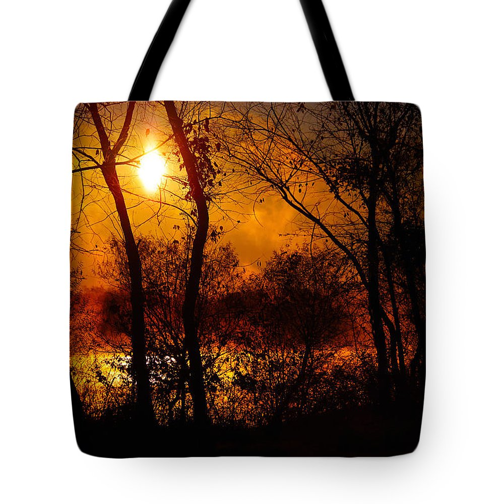 Sunrise Tote Bag featuring the photograph Rekindle by Mitch Cat