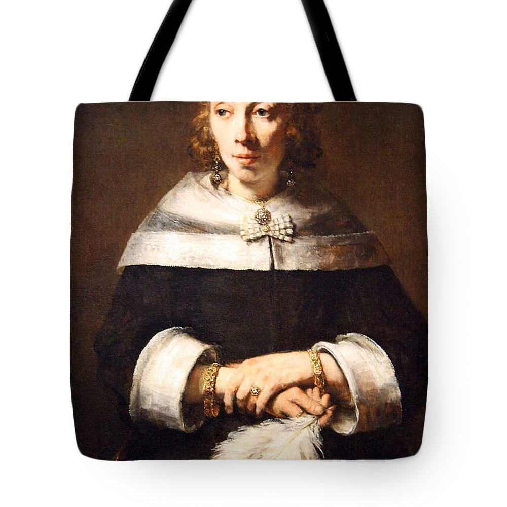 Portrait Of A Lady With An Ostrich Feather Fan Tote Bag featuring the photograph Rembrandt's Portrait Of A Lady With An Ostrich Feather Fan by Cora Wandel