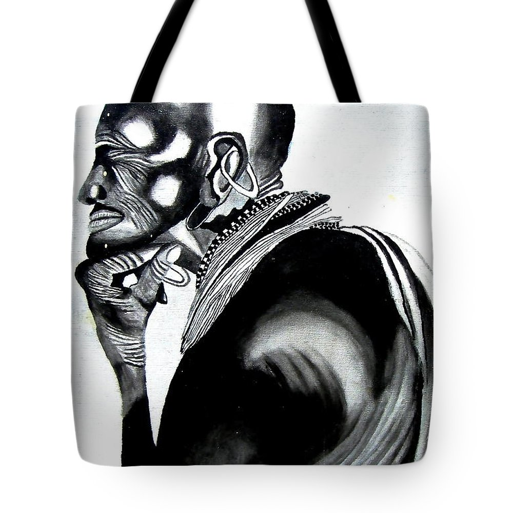 Black And White Painting Tote Bag featuring the painting Respect by Wakaba