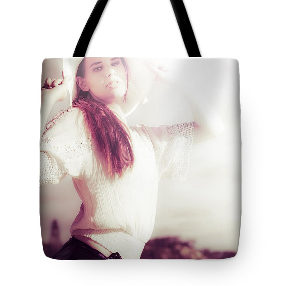 Aged Tote Bag featuring the photograph Retro Summer Woman by Jorgo Photography - Wall Art Gallery