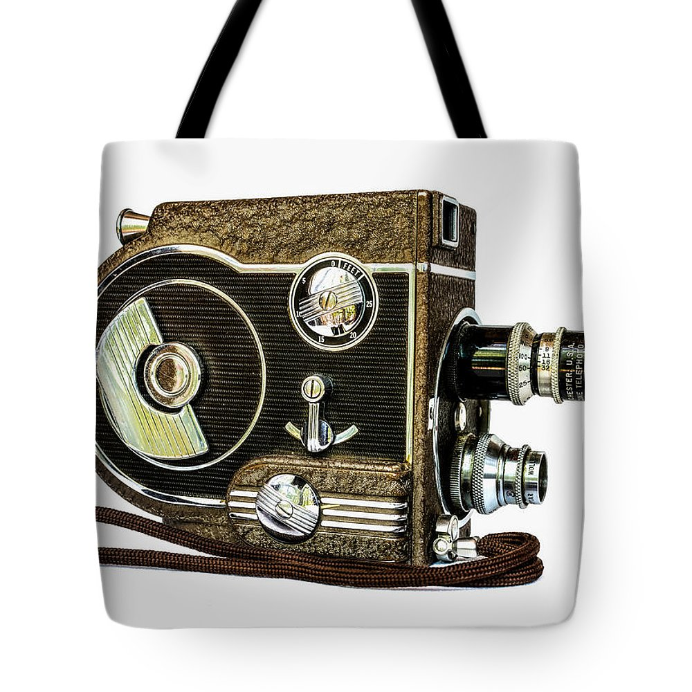 Movie Tote Bag featuring the photograph Revere 8 Movie Camera by Jon Woodhams