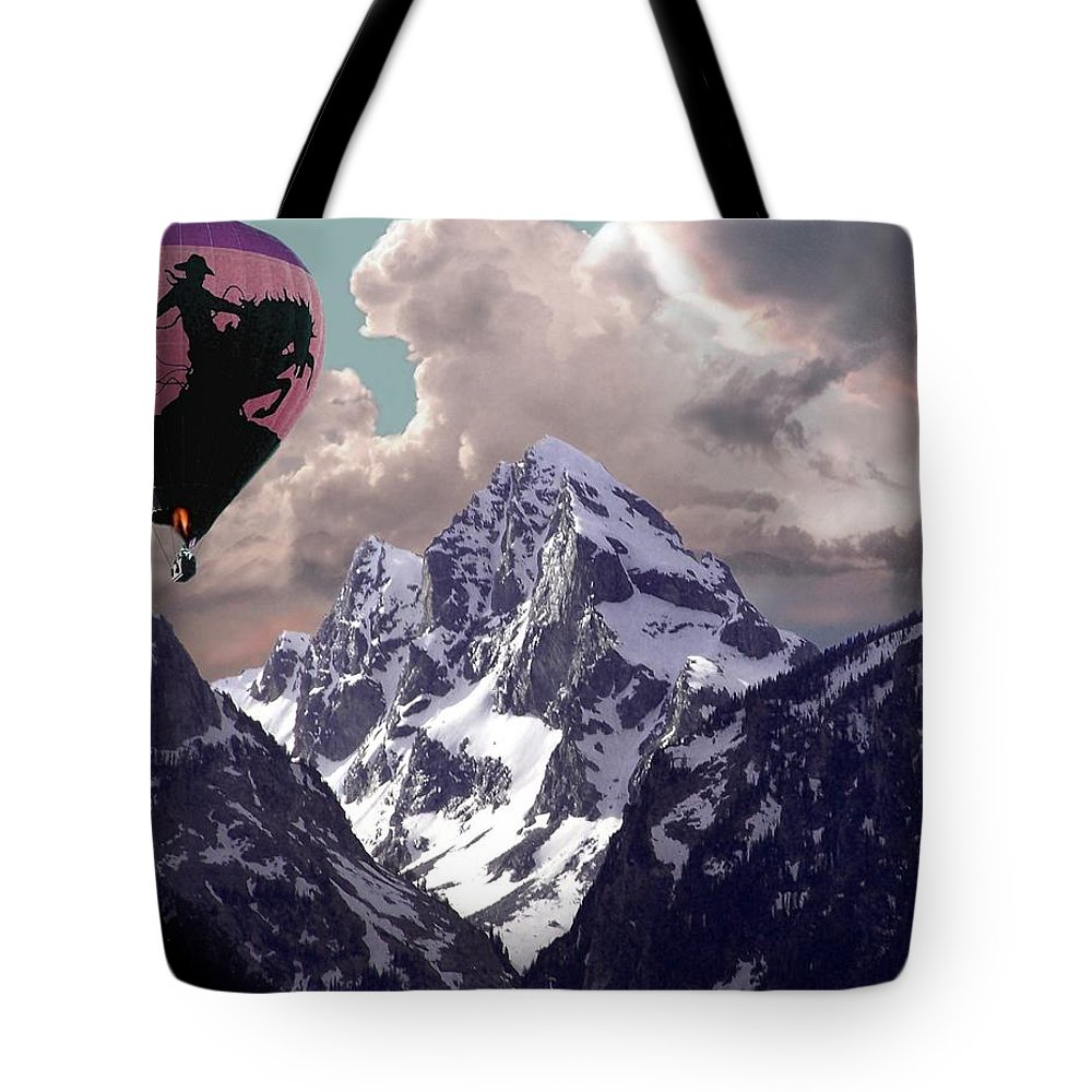 Hot Air Balloons Tote Bag featuring the digital art Riding The Tetons by Bill Stephens
