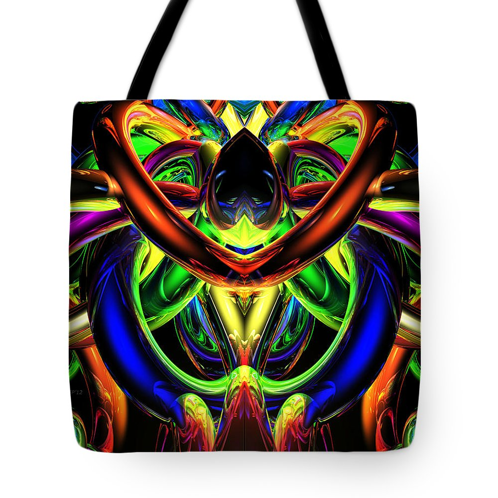 Rings Tote Bag featuring the digital art Rings Of Illumination #2 by Phil Perkins
