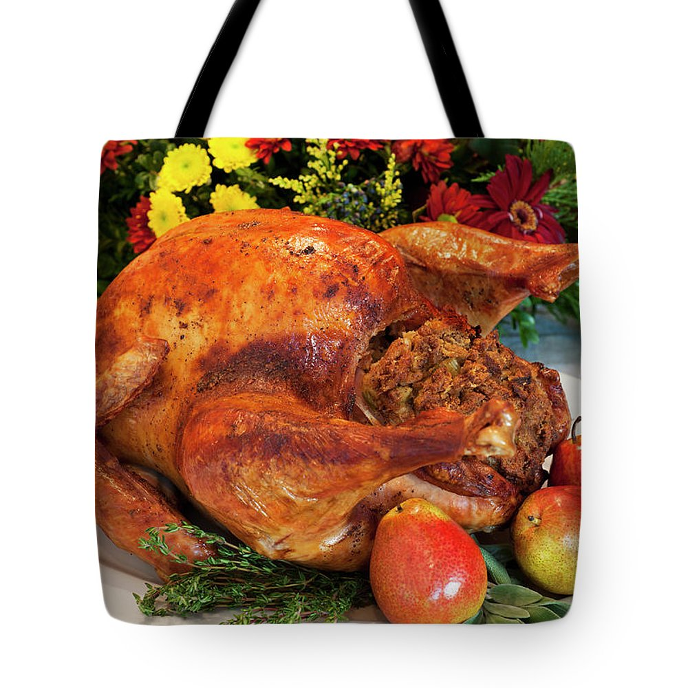 Stuffed Tote Bag featuring the photograph Roast Turkey by Tetra Images