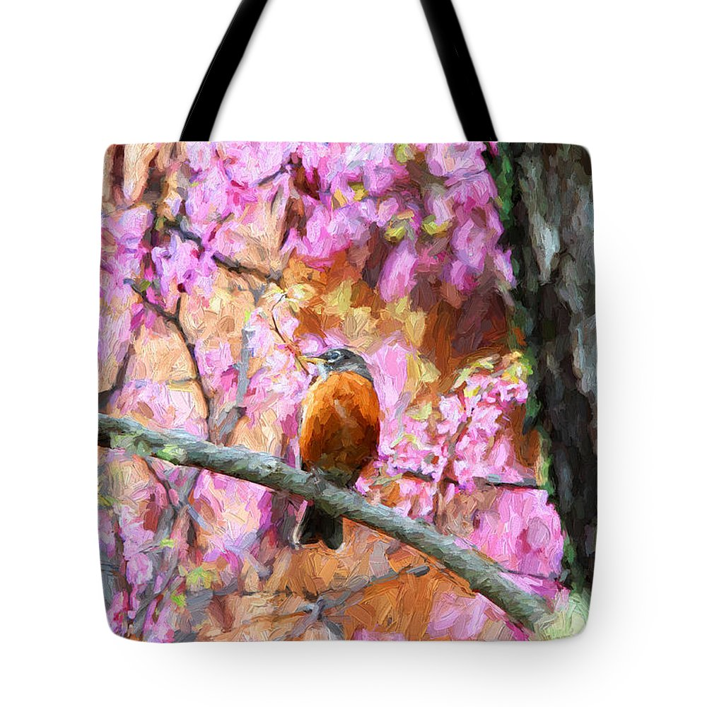 Birds Tote Bag featuring the photograph Robin In A Red Bud Tree by John Freidenberg