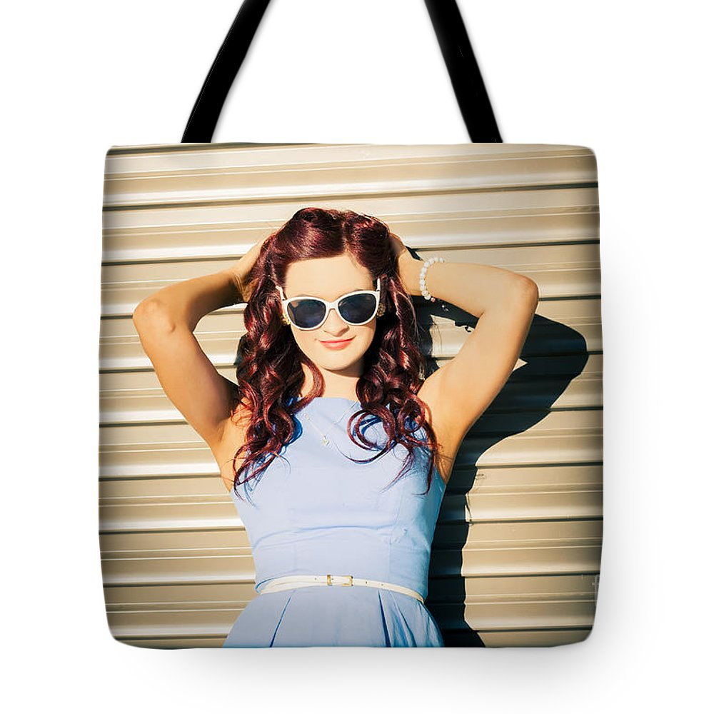 Rockabilly Tote Bag featuring the photograph Rockabilly Greaser Pin-up. 50s Drive-in Culture by Jorgo Photography - Wall Art Gallery