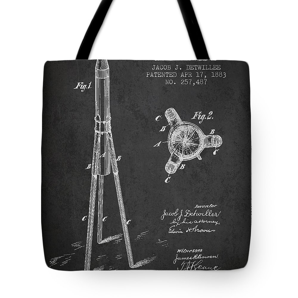 Rocket Patent Tote Bag featuring the digital art Rocket Patent Drawing From 1883 by Aged Pixel